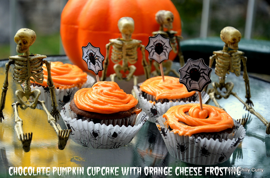 chocolate pumpkin cupcake with orange cheam cheese frosting,eggless ...