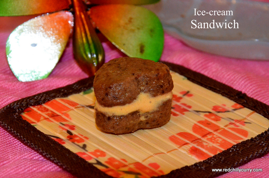 ice cream sandwich,ice cream recipe,sandwich recipes,valentine day recipes,heart shaped cookies,cookies,chocolate cookies,eggless ice cream sandwich