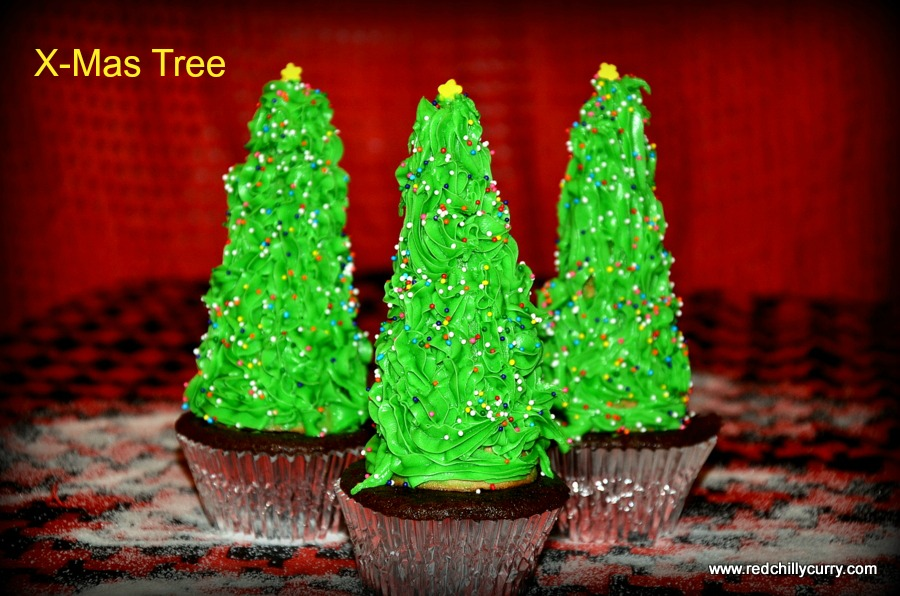 xmas tree,eggless xmas tree,cake recipe,eggless chocolate cupcake,butter frosting cream,alphabet x recipe,x-mas tree for x alphabet,blogging marathon,alphabet recipes