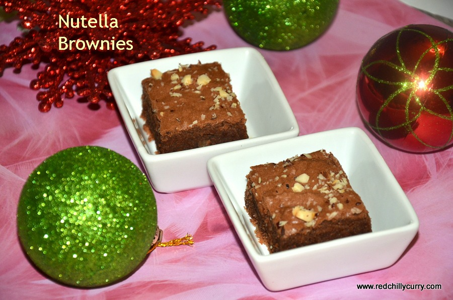 nutella recipes,nutella brownies,eggless nutella brownies,egggless brownies,christmas recipe,christmas eggless recipes,festival recipes,how to make brownies,homemade brownies,christmas brownies,redchillycurry