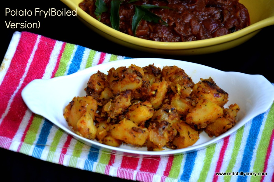 south indian recipe,side dish recipe,side dish for sambar,potato recipe,potato fry,potato fry boiled version,boiled potato fry,hotel style potato fry