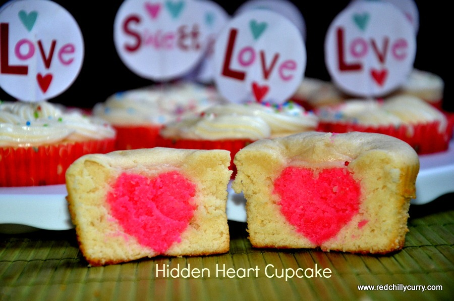 hidden heart cupcake,valentine recipes,valentine special recipes,heart recipes,eggless hidden heart cupcakes,eggless cupcake,eggless valentine recipes,how to make cupcake,eggless recipe,valentine ideas