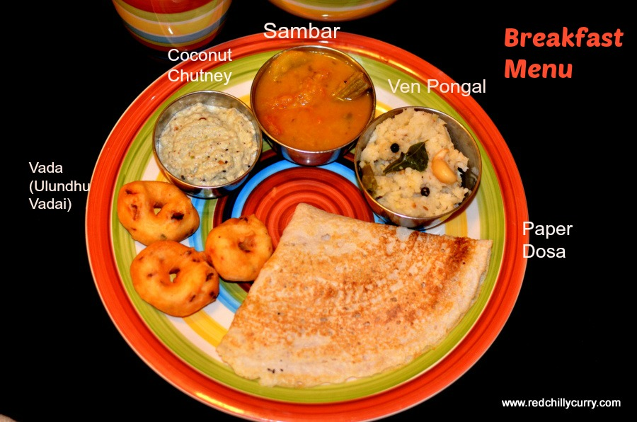 south indian breakfast menu,breakfast menu,breakfast ideas,breakfast thali,breakfast combo,recipe for breakfast,guest cooking series,ven pongal,vada,medhu vada,sambar,coconut chutney,thali recipes,dosa,idly