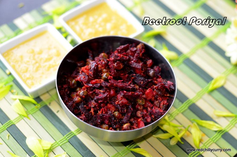 beetroot poriyal,beetroot fry,south indian recipe,side dish for sambar,south indian side dish,beetroot recipes,poriyal,easy fry,beetroot