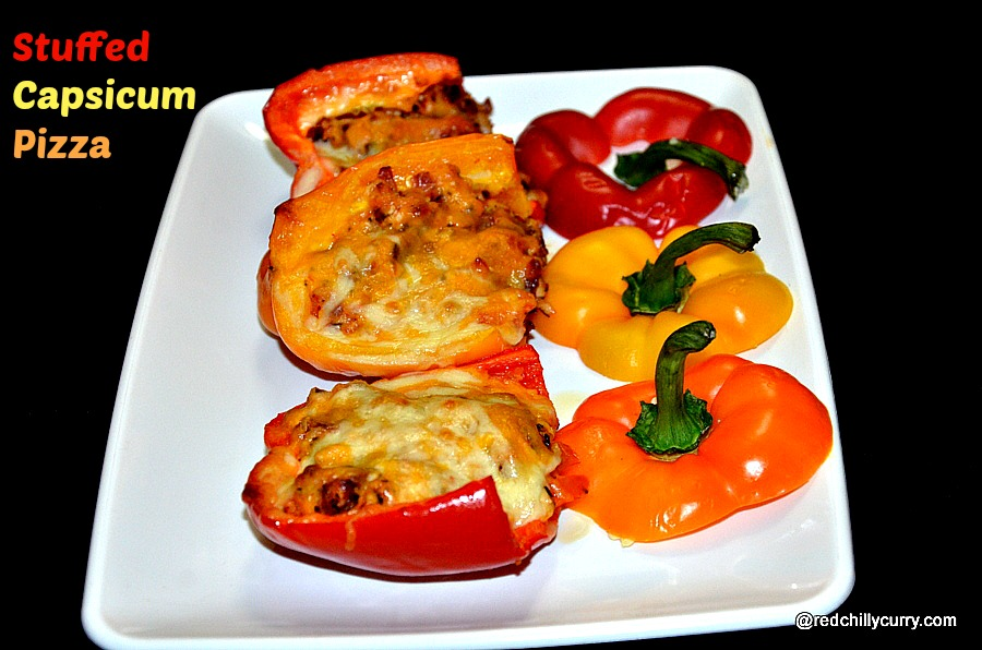 stuffed capsicum,stuffed capsicum pizza,stuffed bell pepper,stuffed bell pepper pizza,party appetizers,capsicum recipes,pizza recipe,quick recipes,cheese recipes,finger food recipes,kids recipes,kids party recipes,party ideas
