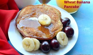 Eggless wheat banana pancake