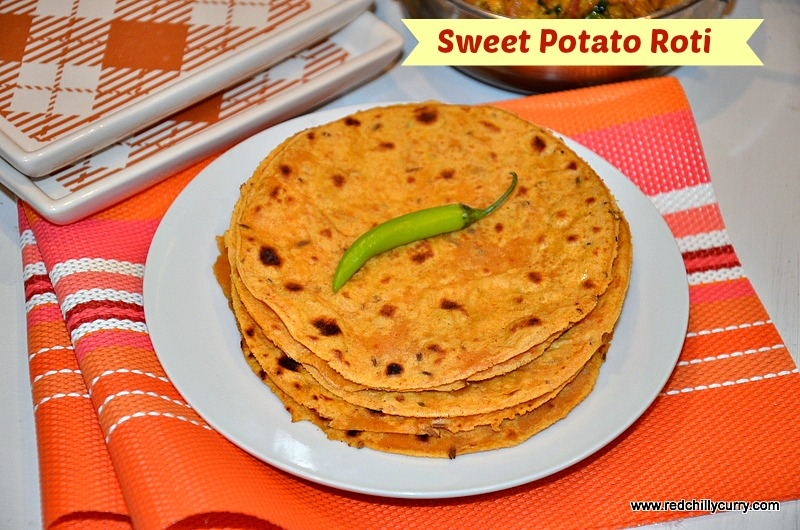 sweet potato roti, sweet potato chapati, sweet potato roti recipe, how to make sweet potato roti, how to make sweet potato chapati, sweet potato recipe, roti recipe, north indian recipe,redchillycurry,dinner recipe Indian