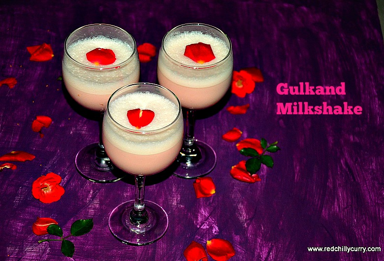 ... gulkand milkshake,rose petal jam milkshake,rose petal jam recipe,party