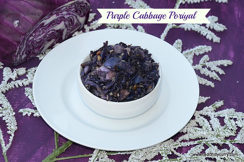 purple cabbage poriyal recipe, red cabbage poriyal, purple cabbage recipe, red cabbage recipe, Indian style purple cabbage recipe,side dish for sambar, how to make purple cabbage recipe,recipe using purple cabbage, cabbage recipe, recipe using red cabbage, easy purple cabbage recipe